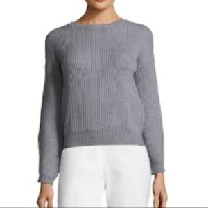 Qi Cashmere Wool Shaker Crop Sweater Grey